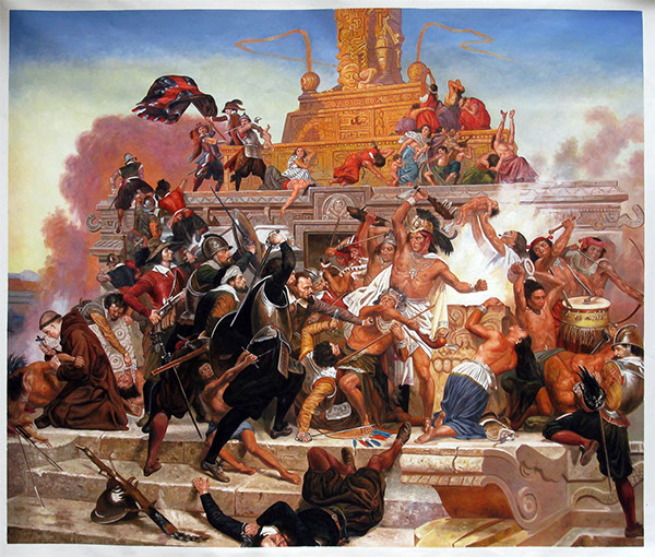 defeating the aztec empire Earlier, the successful conquest of mexican aztec and peruvian inca empires by   the aztecs, once incited to fight, savagely attacked and defeated the spanish.