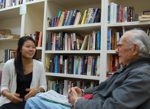 Freshman Giselle Tran interviews retired physicist William Frye for Professor Yoshiko Matsumoto's course on the joys and pains of growing older. Linguist Matsumoto studies how language helps the elderly cope with the challenges of aging.