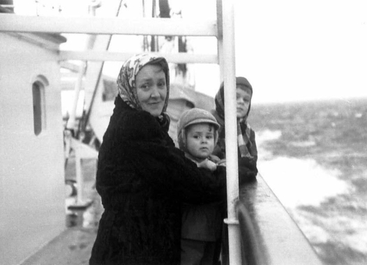 Immigrant family on ship