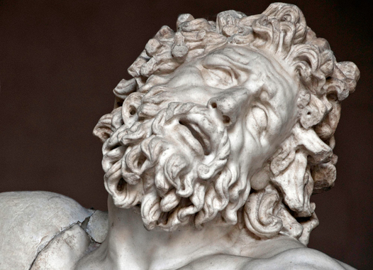 """This close up detail of the sculpture group """"Laocoön and His Sons,"""" to illustrate how visual art uses mimesis to evoke affect."""