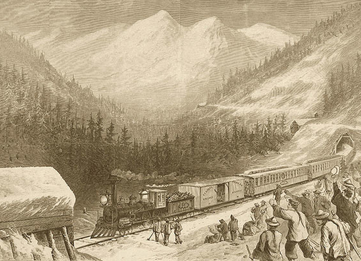 Railroad with workers