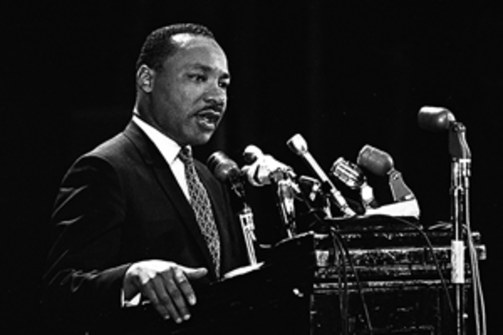 Martin Luther King Jr. speaking in Memorial Auditorium on campus in 1967