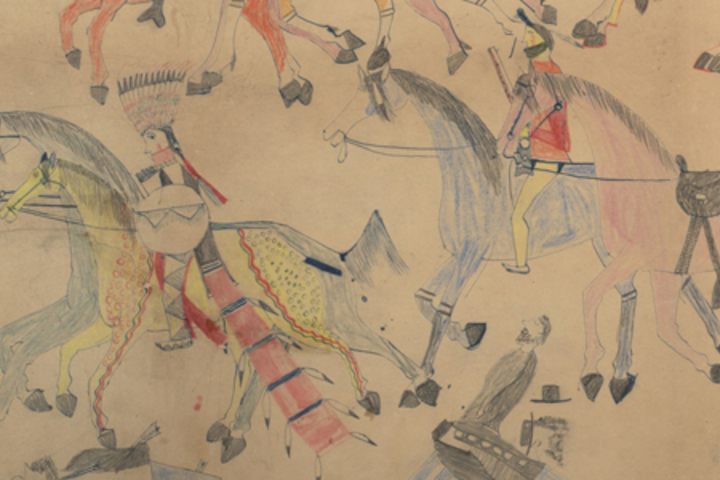Red Horse (Minneconjou Lakota Sioux, 1822-1907), Untitled from the Red Horse Pictographic Account of the Battle of the Little Bighorn, 1881. Graphite, colored pencil, and ink.
