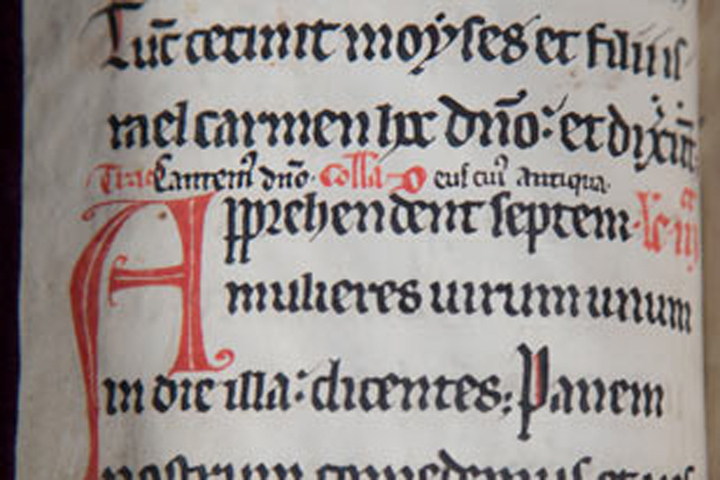 An opening in the prayer book of Elizabeth of York. Stanford University Libraries.
