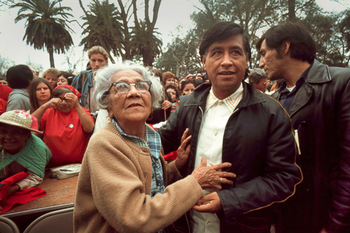 Cesar Chavez and his mother, Juana Estrada, appear at a rally in Modesto, Calif., in 1973.