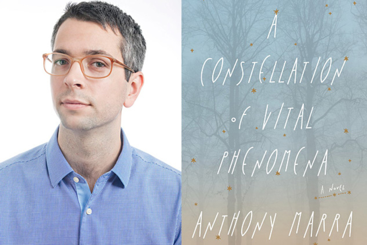 """Photo of Anthony Marra and the cover of his book, """"A Constellation of Vital Phenomena"""""""