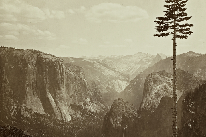 "Carleton E. Watkins ( U.S.A., 1829–1916), The Yosemite Valley from the ""Best General View"" 1866, from Photographs of the Yosemite Valley. Albumen print."