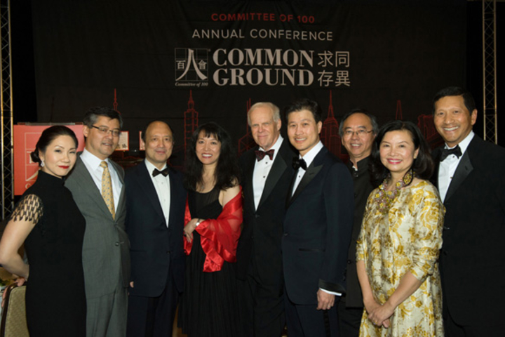 Photo of participants including Stanford President John Hennessy.