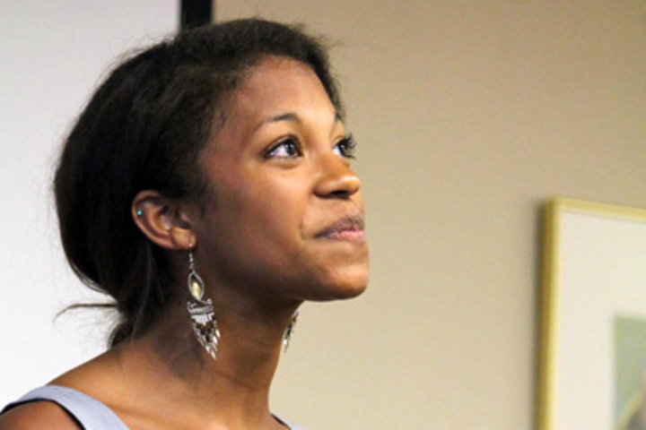Stanford sophomore Mia Diawara delivers Shane Koyczan's poem 'Beethoven' at the second annual Poetry Out Loud competition.