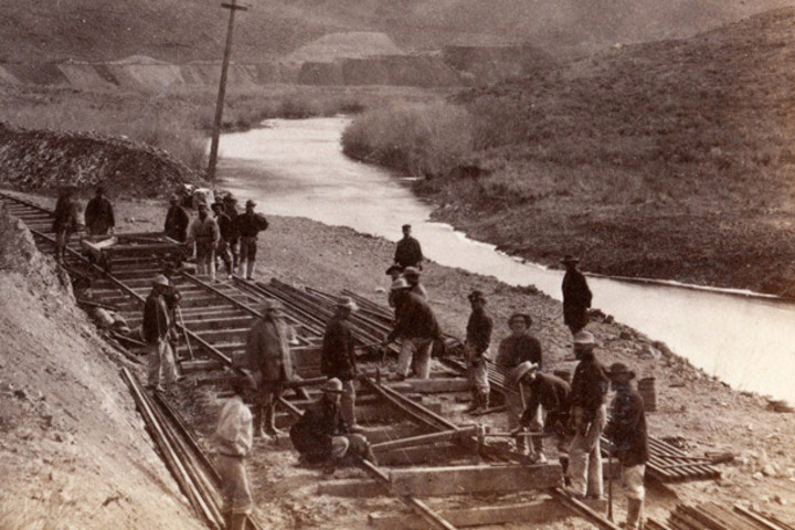 Chinese workers help lay tracks along the Ten Mile Canyon stretch of the Transcontinental Railroad route. Stanford professors Gordon Chang and Shelley Fisher Fishkin are leading an exploration of their lives and experiences.