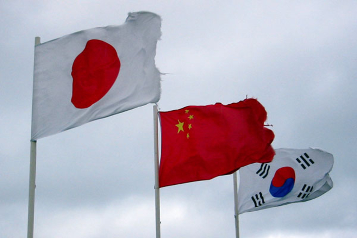 Japanese, Chinese and South Korean flags