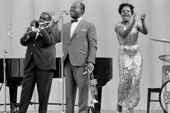 Louis Armstrong and his orchestra performed at Frost Amphitheater in 1965 as part of Stanford's Jazz Year.