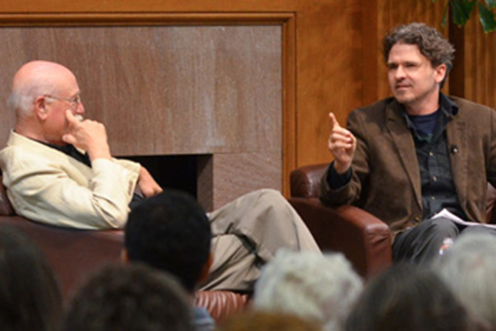 Author and Stanford professor Tobias Wolff (left) in conversation with author Dave Eggers during a lecture at Stanford