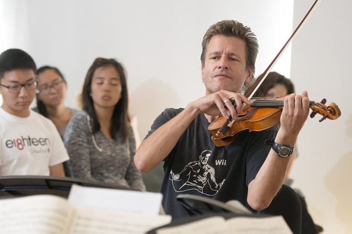 Violinist Geoff Nuttall plays with the St. Lawrence String Quartet