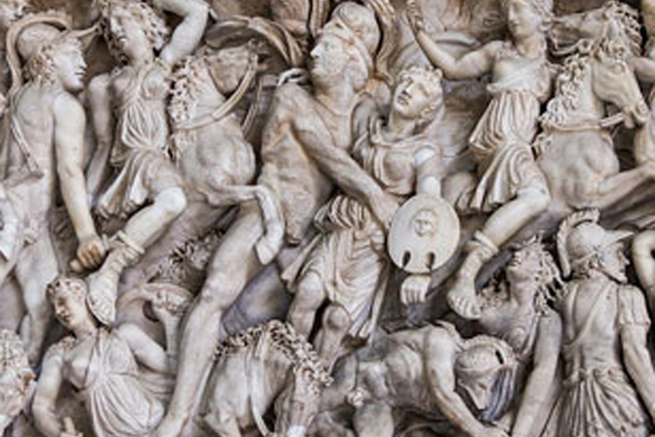 A battle between Amazons and Greek warriors is depicted in a marble sarcophagus on display at the Pio Clementino museum in the Vatican.