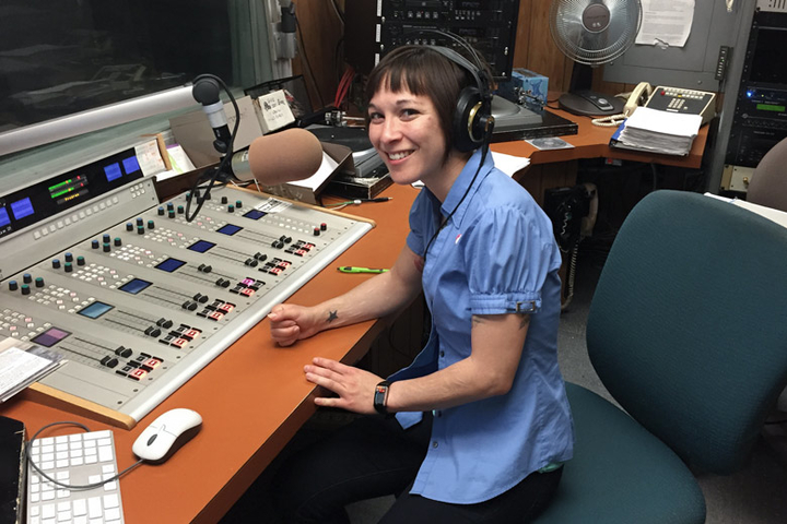 Woman in radio studio
