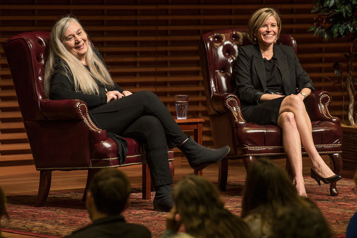 Author Marilynne Robinson and Caroline Winterer sitting in chairs on a stage