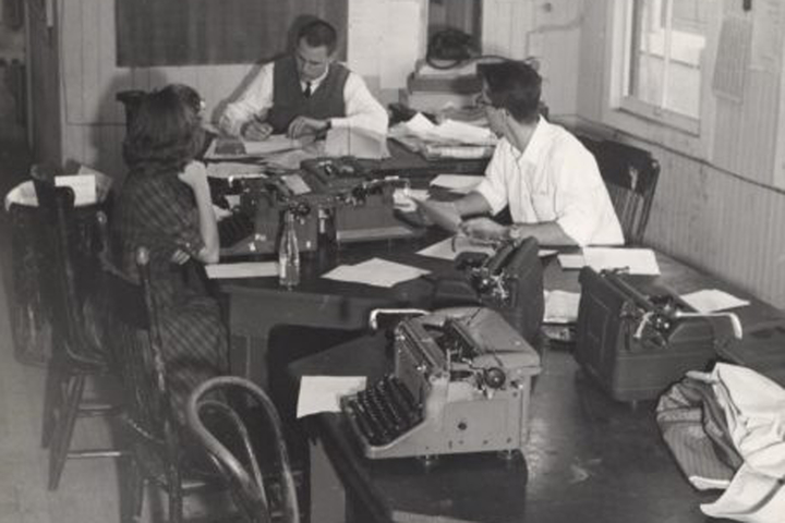 Stanford has a rich tradition of student journalism that dates back to the university's beginning. This undated photo shows the Stanford Daily offices on Lomita Drive when the tools of the trade included typewriters, rotary phones and plenty of carbon pap