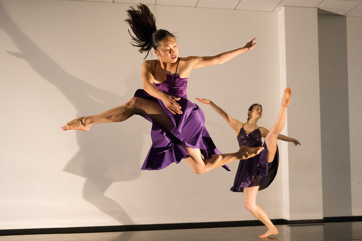 Stanford freshman Cora Cliburn, foreground, and doctoral candidate Glory Liu will dance on the Memorial Auditorium stage this Thursday and Friday in dances created by faculty members.
