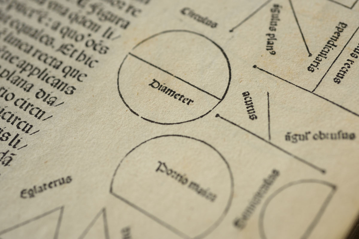 Eunsoo Lee, PhD student in classics, is advancing understanding of visual knowledge by tracing the transmission and translation of diagrams in Euclid's Elements. Detail of diagrams from a 1482 edition held by Stanford University Libraries.