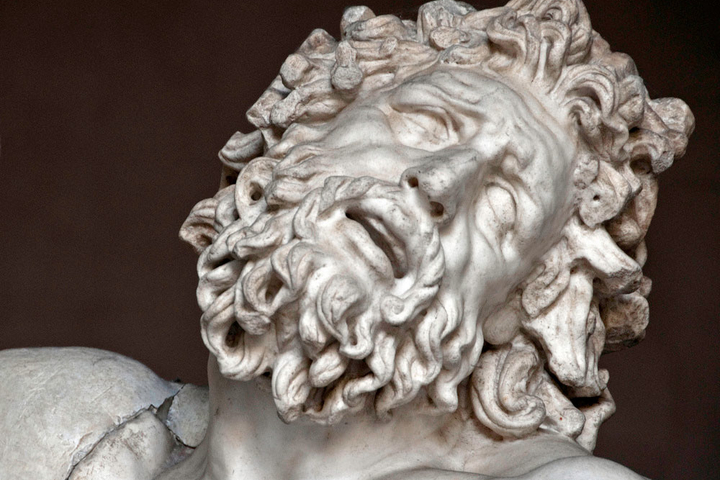 "This close up detail of the sculpture group ""Laocoön and His Sons,"" to illustrate how visual art uses mimesis to evoke affect."