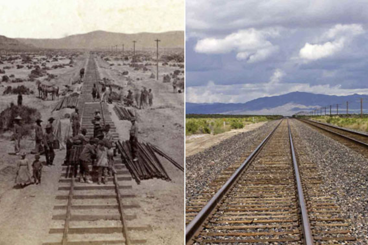 On the left, Historic photo of workers on railroad and on the right, contemporary photo with no workers.