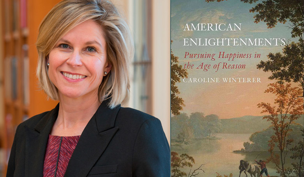 Photo of Caroline Winterer and photo of book cover